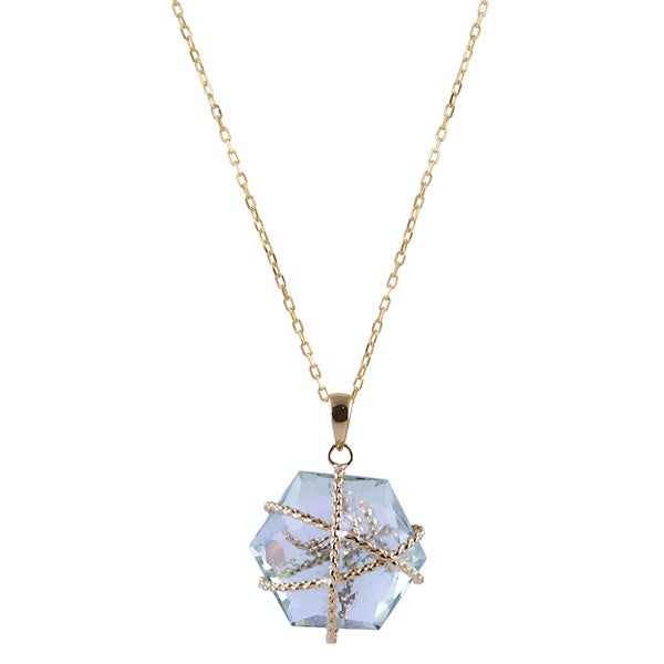 14k Yellow Gold Green Amethyst Hexagon Necklace