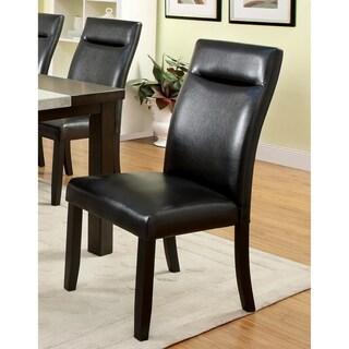 Furniture of America Garthe Dark Walnut Leatherette Side Chair (Set of 2)