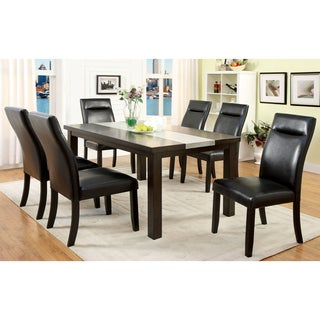 Furniture of America Garthe Dark Walnut 7-Piece Dining Set