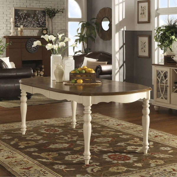 HOME Shayne Country Antique Two Tone White Extending Dining Table
