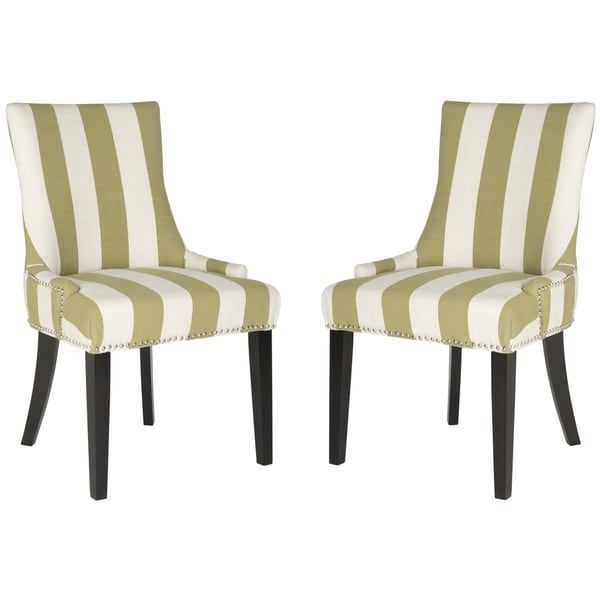 Safavieh Lester Sweet Pea Green/ White Stripe Dining Chair