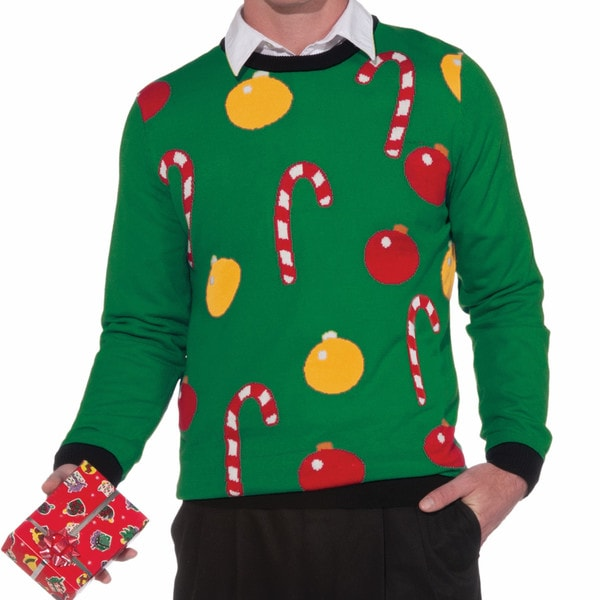 Ornaments And Candy Canes Ugly Christmas Sweater