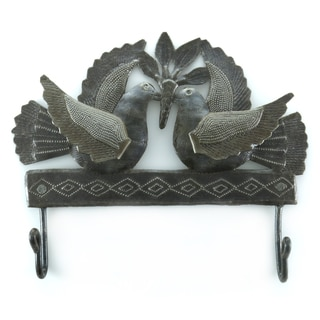 Handcrafted Recycled Steel Drum Doves Double Hook Wall Art (Haiti)