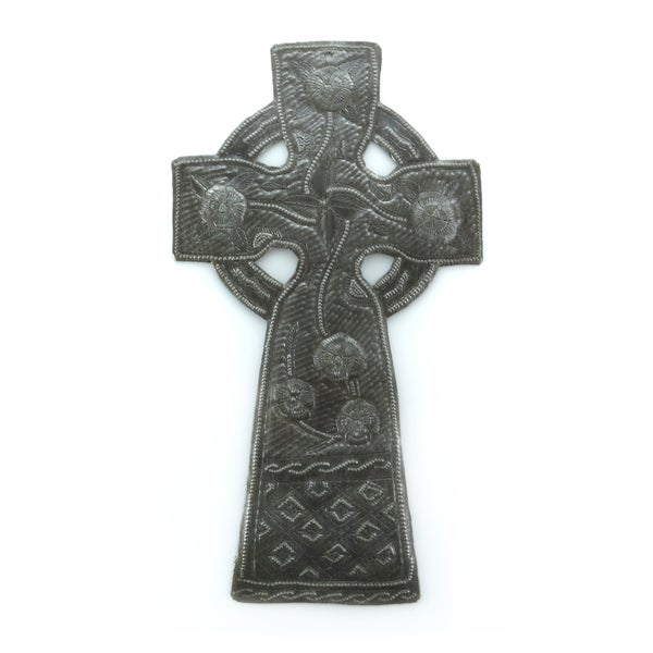 Handcrafted Recycled Steel Drum Celtic Cross Wall Art (Haiti)
