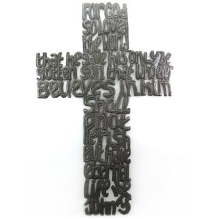 Handcrafted Recycled Steel Drum For God So Loved The World Cross Wall Art (Haiti)