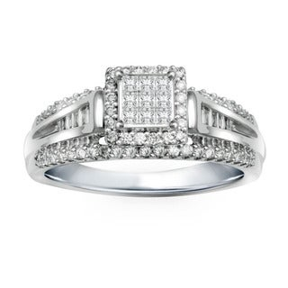 10k White Gold 1/2ct TDW Diamond 9-stone Composite Engagement Ring (I-J, I2-I3)