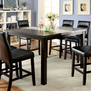 Furniture of America Garthe Dark Walnut Counter Height Table with Stone Insert