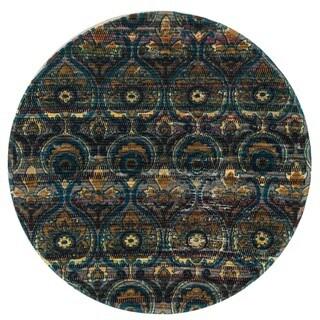 Flatweave Maria Grey/ Blue Damask Round Rug (3'0 x 3'0)