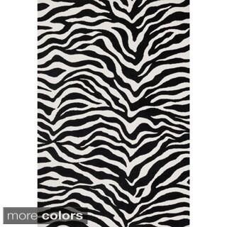Aaron Zebra Print Microfiber Woven Rug (5'0 x 7'6)