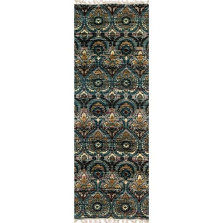 Flatweave Maria Grey/ Blue Damask Runner Rug (1'9 x 5'0)
