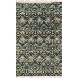 Flatweave Maria Grey/ Blue Damask Rug (3'6 x 5'6)