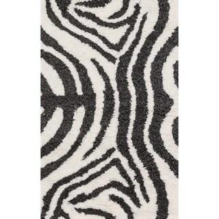 Hand-Tufted Zarah Zebra Microfiber Shag Rug (2'3 x 3'9)