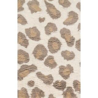 Hand-Tufted Zarah Leopard Microfiber Shag Rug (2'3 x 3'9)