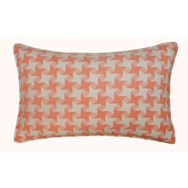 Jiti Outdoor Houndstooth Orange 20-inch Long Pillow