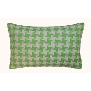 Jiti Outdoor Houndstooth Green 20-inch Long Pillow
