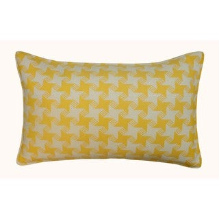 Jiti Outdoor Houndstooth Yellow 20-inch Long Pillow