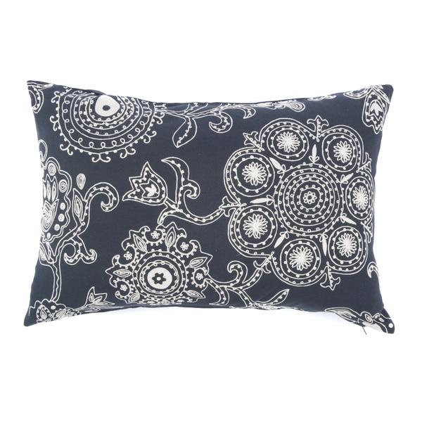 Jiti Suzani Floral Black Cream 24-inch Long Pillow