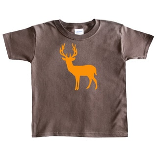 Rocket Bug Boy's Orange Deer Silhouette Brown Cotton T-shirt