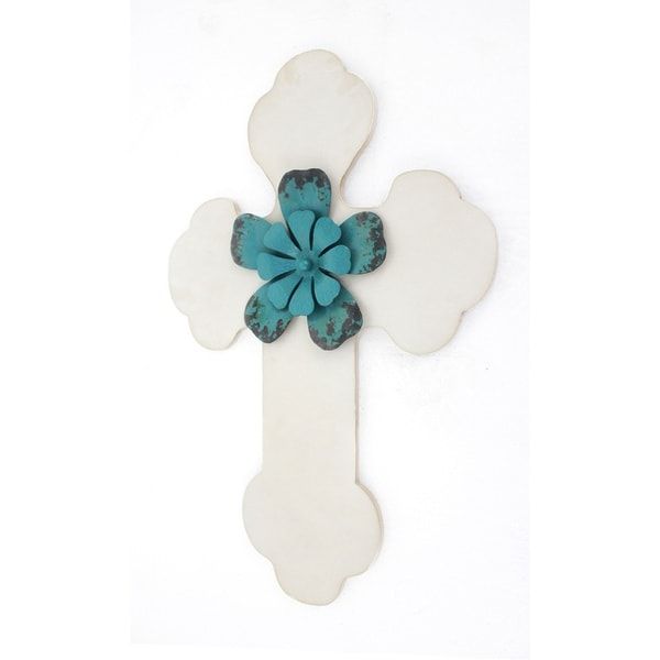 Blue Floral and White Cross Wall Decor