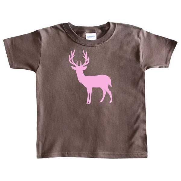 Rocket Bug Girl's Pink Deer Silhouette Cotton T-shirt