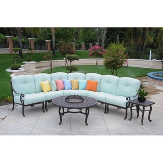 Somette Athens Sectional Deep Seating Set with Chat and Side Table (7-pieces)