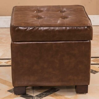 Classic Faux Leather Storage Cube with Hinge