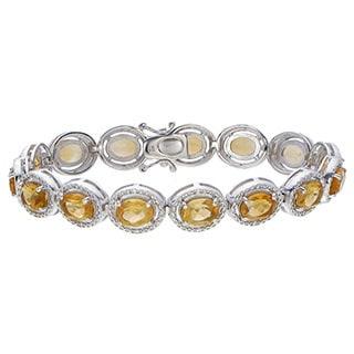 Sterling Silver Oval-cut Citrine Link Bracelet