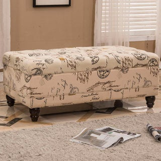 French Writing Aqua Postmark Print Tufted Storage Bench Ottoman