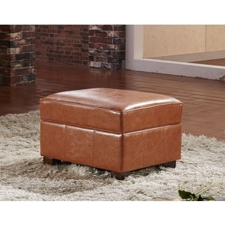 Contemporary Faux Leather Storage Ottoman Bench with Hinge