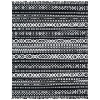 Black Geo Cotton Rug (10'x14')