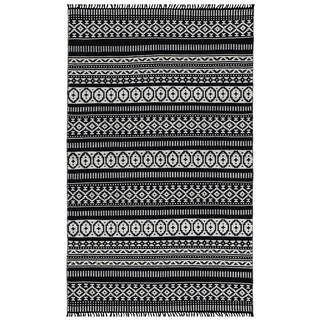 Black Geo Cotton Rug (4'x6')