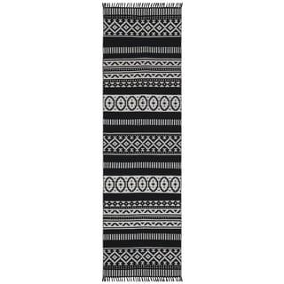 Black Geo Cotton Runner (2.5'x8')