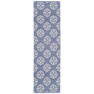 Blue Medallion Cotton Jacquard Runner (2.5'x12')