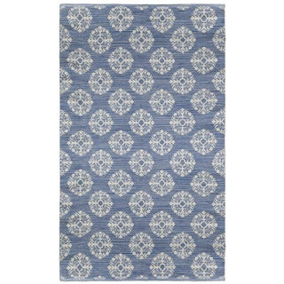 Blue Medallion Cotton Jacquard Rug (4'x6')