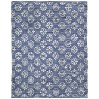 Blue Medallion Cotton Jacquard Rug (8'x10')