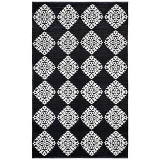 Black Medallion Cotton Jacquard Rug (3'x5')