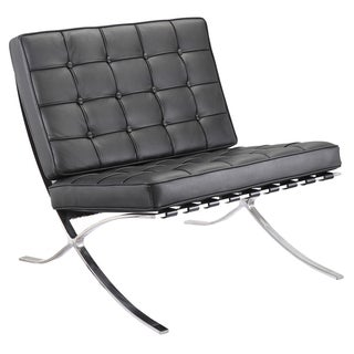 Black Italian Leather Lounge Chair