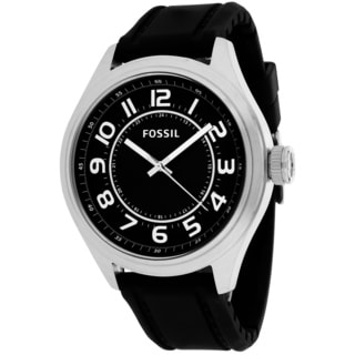 Fossil Men's BQ1045 Asher Round Black Silicone Strap Watch