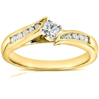 Annello 14k Yellow Gold 1/4ct TDW Diamond Engagement Ring (G-H, I1-I2)