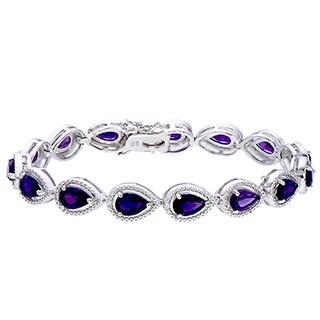 Sterling Silver Purple Amethyst Link Bracelet