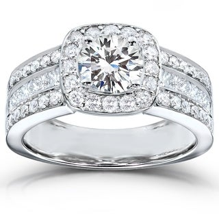 Annello 14k White Gold Round-cut Moissanite 1ct TDW Diamond Engagement Ring (H-I, I1-I2)