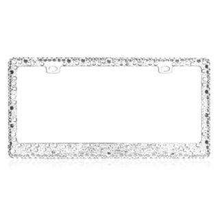 Insten Multiple Sized Chrome Car License Metal Frame Plate with White Crystals