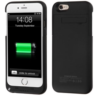 Insten Black Quantum 3200 mAh Rubberized Energy Battery Phone Case Cover With Stand For Apple iPhone 6