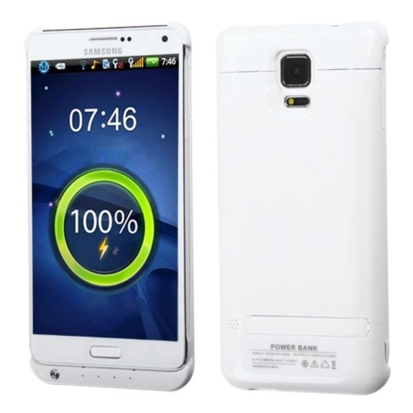Insten White Quantum 3800 mAh Rubberized Energy Battery Phone Case Cover With Stand For Samsung Galaxy Note 4