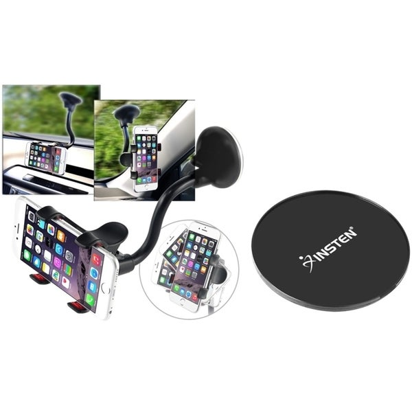 Insten 360-degree Swivel Universal Car Mount Phone Holder With Suction Mount For Cell Width Up to 3.55-inch