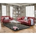 Furniture of America Pierson 2-Piece Double Stitched Leatherette Sofa and Loveseat Set