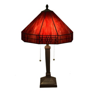 Maeve Tiffany-style 2-light Red Table Lamp