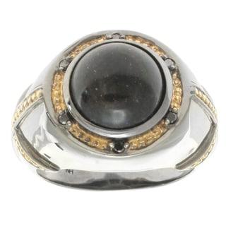 Michael Valitutti Gold over Silver Men's Black Opal Black Diamond Accent Ring