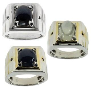 Michael Valitutti Silver Men's Blue Star Sapphire and Blue Sapphire Ring