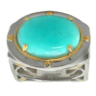 Michael Valitutti Palladium Silver Men's Peruvian Amazonite Ring